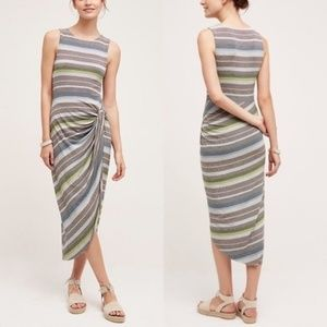 Bailey 44 Petite Gathered Stripes Midi Dress Small